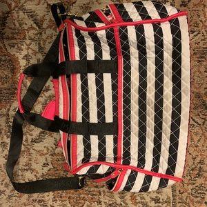 Betsey Johnson striped weekend duffel bag